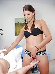Teen with pigtails gets her moist slit porked on the massage table