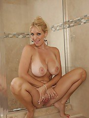 Charlee Chase is milf babe who loves spreading her legs in hot shower