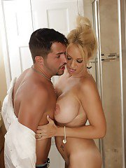 MILF babe Charlee Chase gets in the shower and has hardcore sex