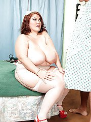 BBW in doctor uniform Lisa Canon lets a patient play with her melons