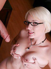 Naughty coed in glasses Nora Skyy gets drilled by a fat dick