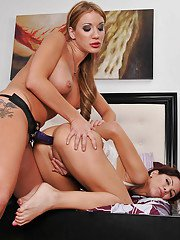 Amy Brooke and Aleksa Nicole in mean lesbian strap-on anal sex
