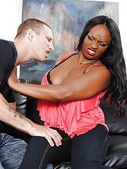 Busty ebony milf Jada Fire takes hardcore dick for reality blowjob
