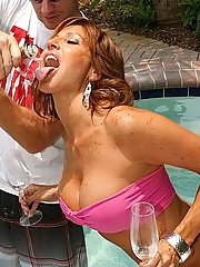Mature hottie with huge tits Tara Holiday having wild sex by the pool