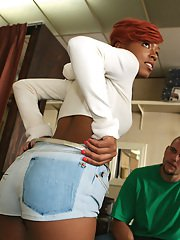 Ass fucking black Naomi Flame skews her shaved pussy on hardcore cock