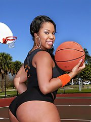 Black fatty Aryana Adin loves outdoor sports and shakes her big ass