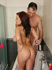 BBW with big boobs Lana Ivans shakes naked ass with guy in shower