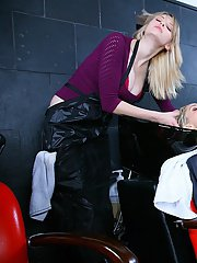 Sizzling blonde receives special treatment in a lesbian hair salon