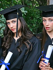Three hot babes celebrating college graduation with lesbian sex