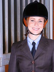 Hot girl Ryann Shields wears boots and uniform because she loves studs