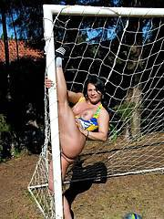 Sexy latina Dani Lopes showing off her juicy curves on the soccer field