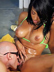 Busty ebony babe Cherry Blossom takes a cock below her sexy bush