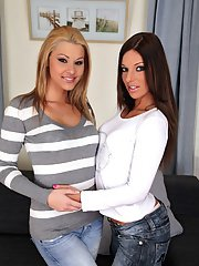 Two european babes in jeans undressing and spreading their legs