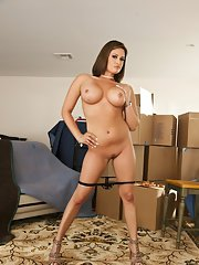 MILF with big boobs Tory Lane shows her ass upskirt in office