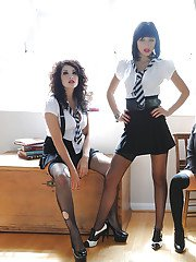 Amy Alexandra and her hot lesbian classmates posing in stockings