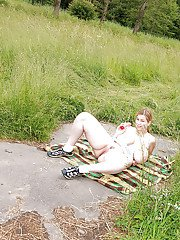 Twisted amp chubby teen Lea upskirts for some outdoor spread pussy play