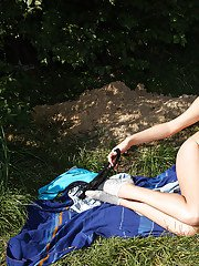 Cute teen girl Dolly D getting horny and toying her twat outdoor