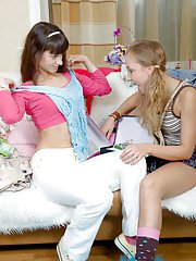 Sexy teens Peggy D amp Ginny A kissing each other and toying their cunts