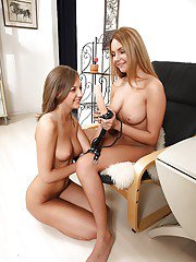 Loveable teen babes Mariah amp Inna having lesbian fun with strapon