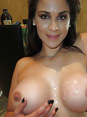 Latina babe Raquel gets a cumshot on her big tits after hardcore fucking