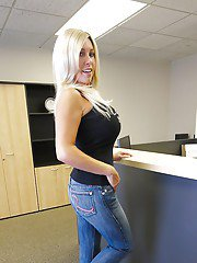 Curvaceous blonde MILF in jeans Wifey posing in the office