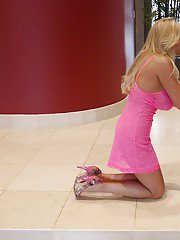 Blonde mature babe in sexy pink dress Wifey stripping outdoor