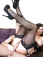 Horny fatty MILF in black stockings Marino gets pounded by two guys