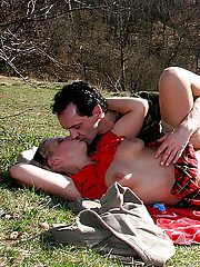 Sexy MILF with big melons Sandra R gets nailed hardcore outdoor