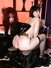 Fetish lady Aradia pleasing her babe Carrie Ann with various toys