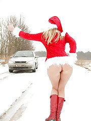 Gorgeous MILF in christmas outfit Jane Darling posing outdoor