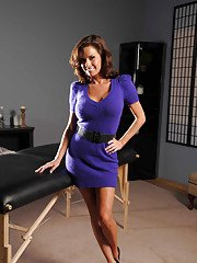 Awesome busty MILF Veronica Avluv stripping and masturbating her holes