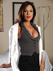 Seductive MILF in black stockings Kirsten Price taking off her clothes