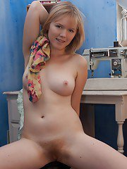 Young babe with hairy armpits Eve Kisa posing and stripping
