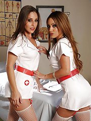 Lovely babes in nurse uniform Melanie Rios amp Gracie Glam stripping