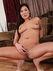 Seductive asian MILF London Keyes stripping and teasing her cunt