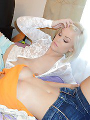 Loveable teen babes picturing themselves and having some lesbian fun