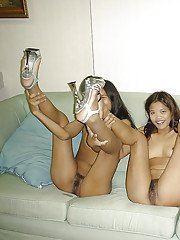 Horny asian girls with tiny tits are into hot lesbian threesome
