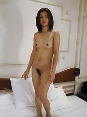 Asian hottie with petite tiny tits and hairy muff posing naked on the bed
