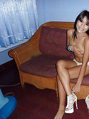 Skinny asian cutie taking off her white panties and gets banged