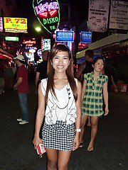 Naughty asian babe in mini skirt gives a blowjob and gets pounded