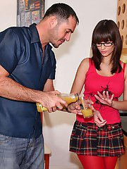 Pretty schoolgirl in glasses gives a tugjob and gets nailed hardcore