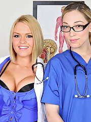 Fuckable nurses in uniform kissing and flashing their butts and cunts