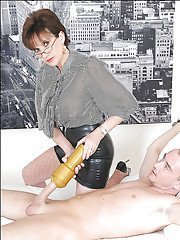 Hot femdom jerks her boyslaves cock and masturbates it with a fleshlight