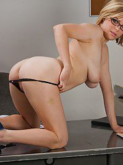 Lusty coed in glasses Penny Pax showing off her petite curves