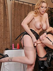 Kinky blonde babes in stockings are into wild lesbian action