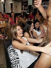 Lusty latina babes playing with a malestrippers cock at the party