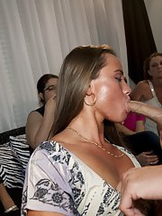 Stunning babe gets a cumshot after fucking a malestripper at the party