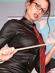 Sexy mature teacher stripping and toying her cunt in the class