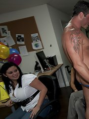 Stunning chiks having fun at the CFNM office party with a malestripper