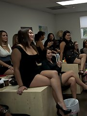 Horny babes take turns sucking a strippers cock at the office party